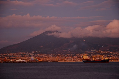 Naples, Italy, one of the world's great volcano cities, snuggles up to Vesu