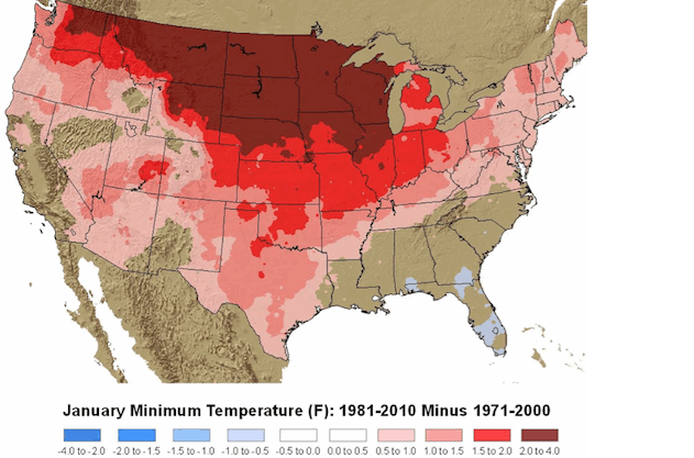 This NOAA map shows how January minimum temperatures have warmed across the U.S. in recent years.