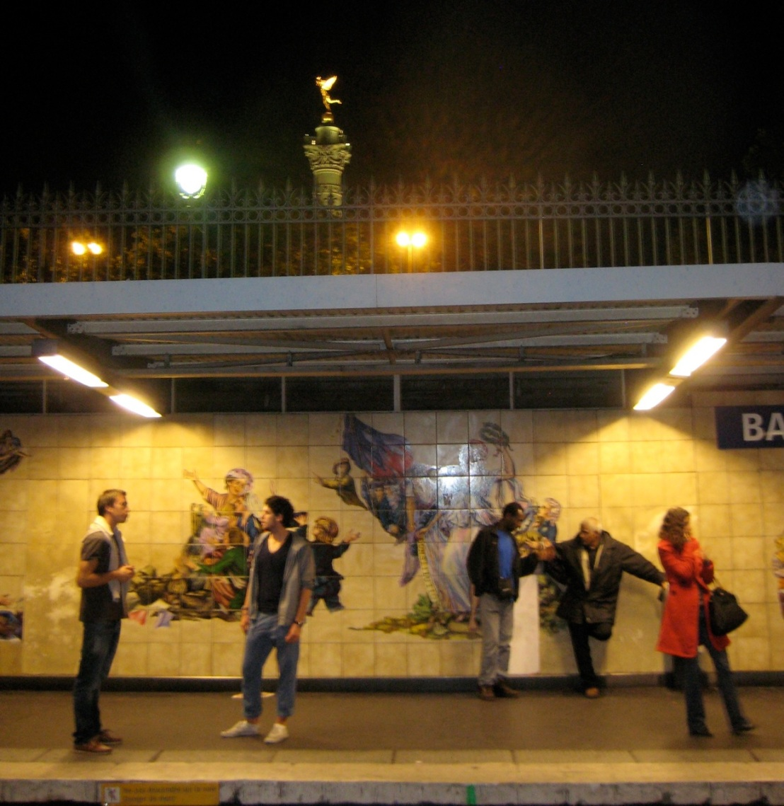 The Bastille Metro stop in the heart of urban Paris.