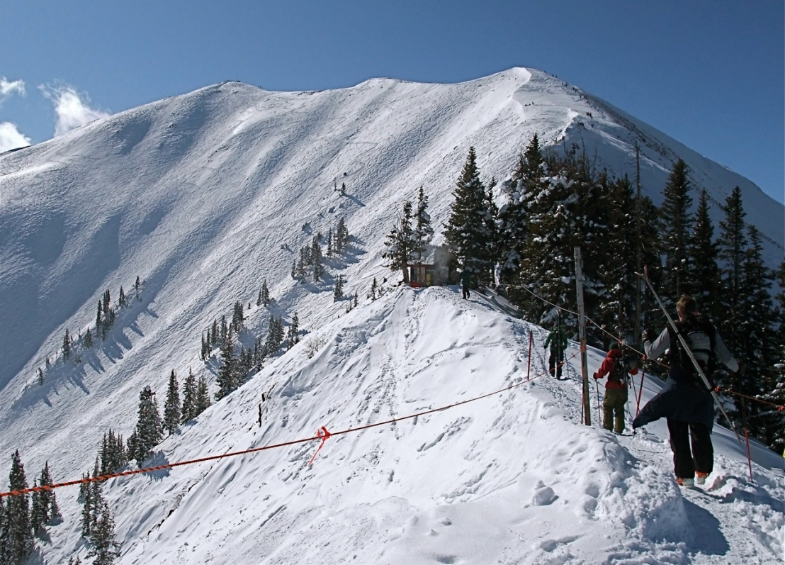 The view of Highlands Bowl at Aspen, Colorado, while hiking up the ridge.