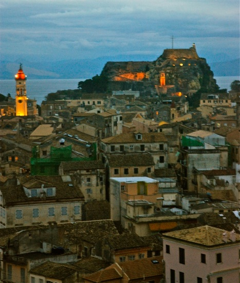 A view of the rooftops of old town Corfu, a world heritage site.