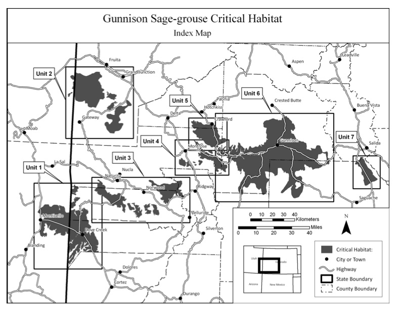 Colorado Gunnison Sage-grouse critical habitat map