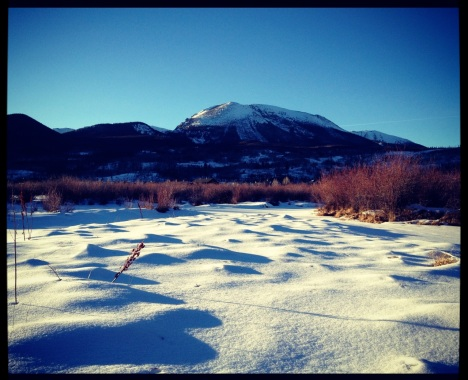 Snow dunes in the Meadow Creek wetlands, Frisco, Colorado.