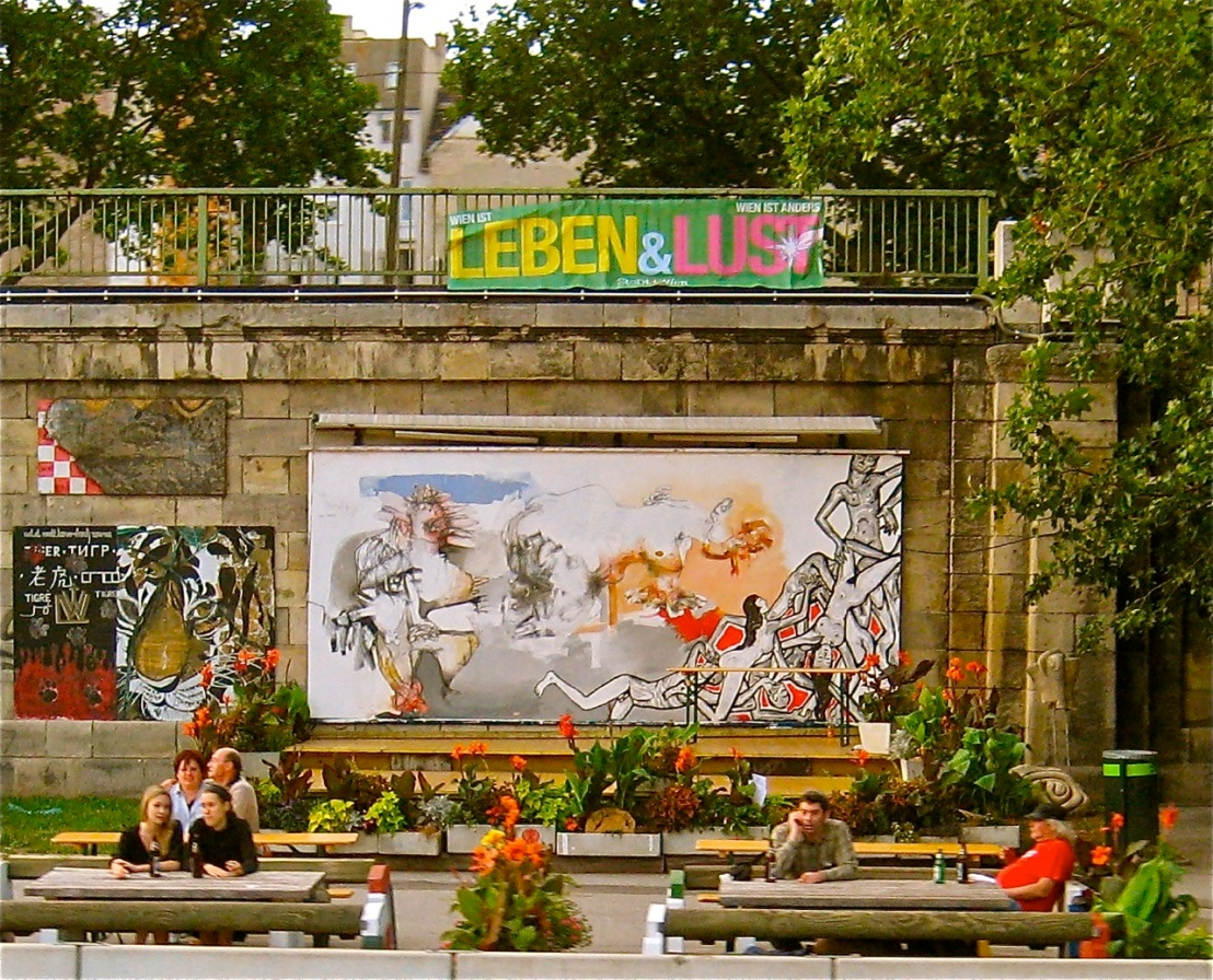 Urban street art along the Danube River in Vienna.