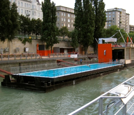Residents of Vienna have converted an old river barge on the Danube into an urban neighborhood pool.
