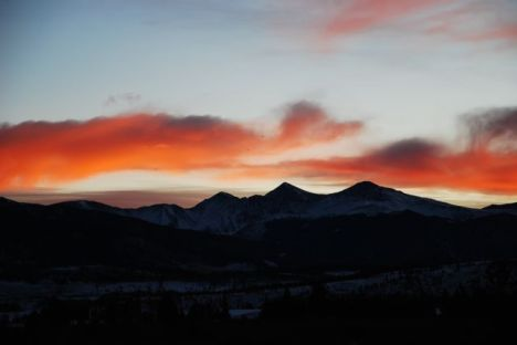 Sunrise clouds over the Continental Divide in Frisco, Colorado.