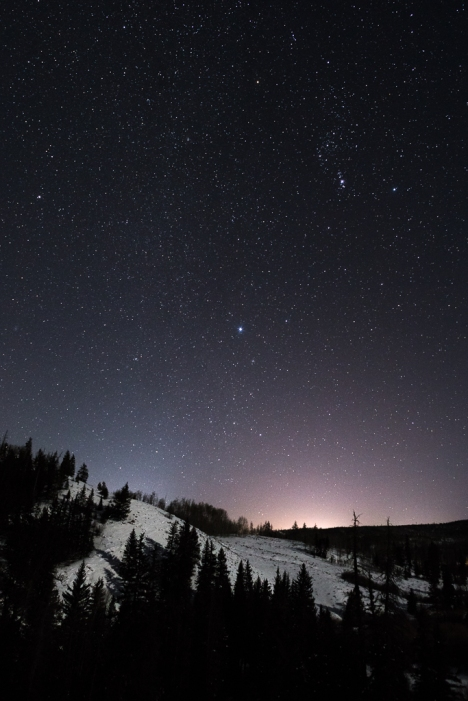 Orion w/ his dogs: Orion w/ Canis Major (Sirius +) and Canis Minor(Procyon +) over White River National Forest - Summit County,  Colorado.