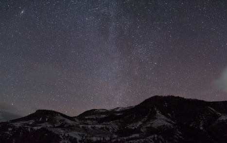 Andromeda Galaxy over Williams Peak w/ Winter Milky Way - SummitCounty, Colorado.