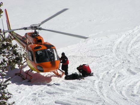 A Flight For Life chopper drops of a search and rescue team during a rapid deployment exercise. Photo courtesy Summit County Sheriff's Office.