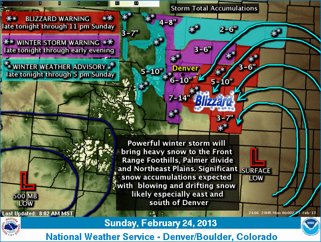 Northeast winds delivered good snow to Colorado's northeastern plains.