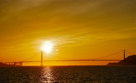 Sunset over the Golden Gate Bridge from the Sausalito to San Francisco ferry.