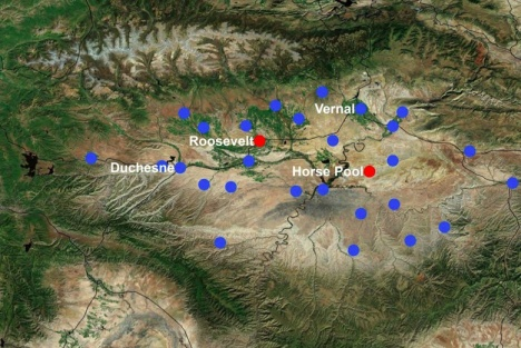 Monitoring sites in the Uinta Basin.