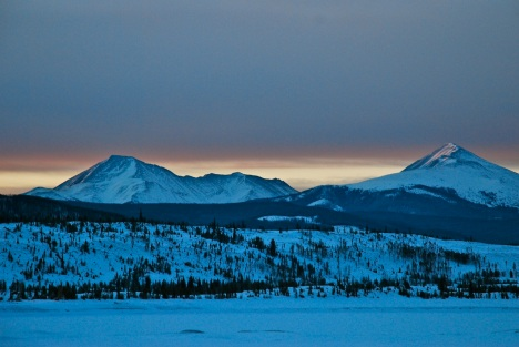 A subtle sunrise over Guyot and Baldy.