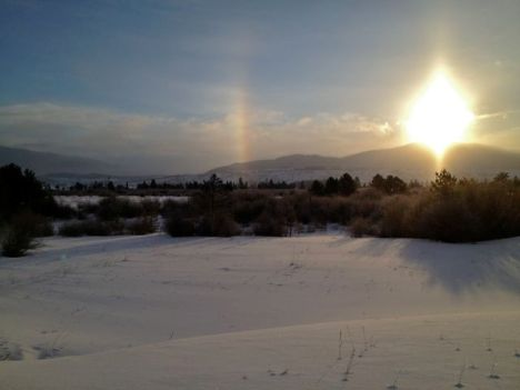 Sundog over Dillon Reservoir.