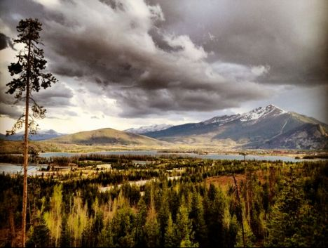 Spring storm clouds building over Peak One and the Tenmile Range.