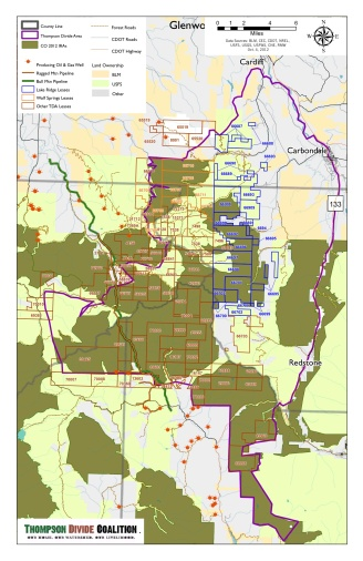 This map shows the overlap of roadless areas and oil and gas leases in Western Colorado's Thompson Divide area.