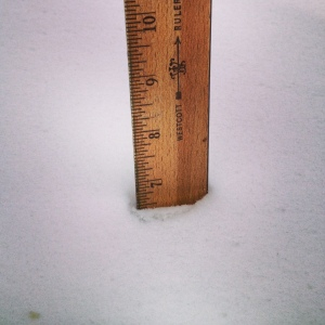 Almost 7 inches of snow in Frisco, Colorado.