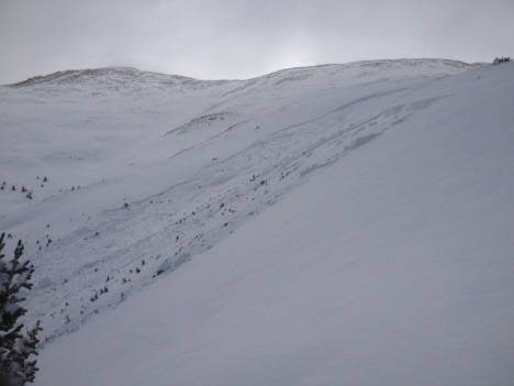 Looking east along the crown line of an April 20 avalanche that killed five men in the Sheep Creek drainage