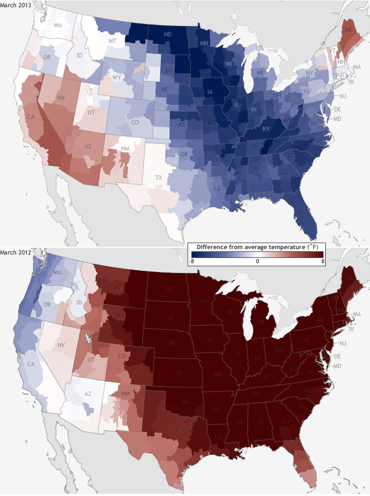 Maps compiled by NOAA show the contrast between temperatures in March 2012 and March 2013.