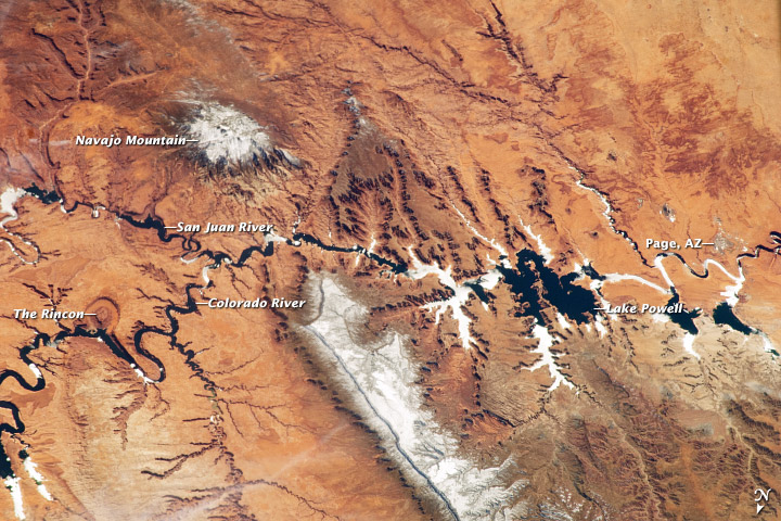 The paradox of water in the desert, illustrated by a NASA satellite image of the Colorado River.