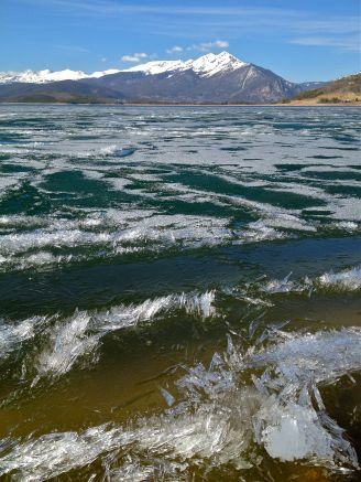The last bits of remnant ice on Dillon Reservoir near the Dillon Amphitheater on May 21.