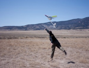 FORT scientist and Raven-A sUAS pilot Leanne Hanson launches the drone in the San Luis Valley as part of an effort to monitor sandhill cranes. USGS photo.