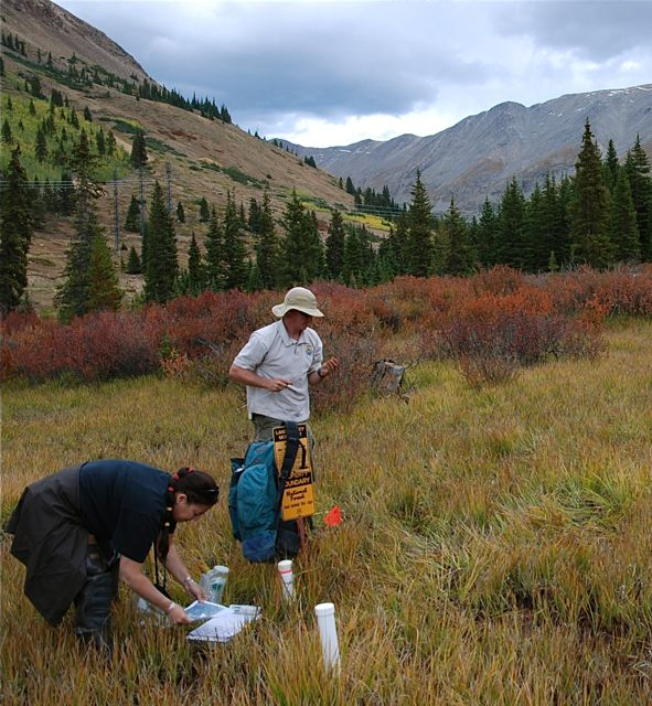 USGS and EPA scientists take earth and water samples below the abandoned Pennsylvania Mine in Summit County, Colorado.