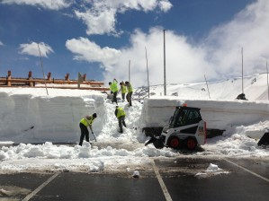 Park staff dig out Alpine Visitor Center, 11,796 feet on May 23, 2013.