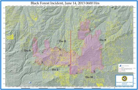 A June 14 map shows the footprint of the Black Forest Fire.