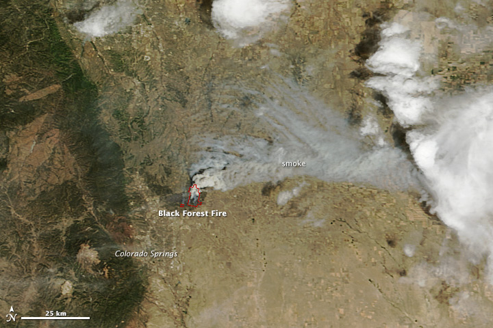 A NASA satellite image shows smoke from the Black Forest Fire.