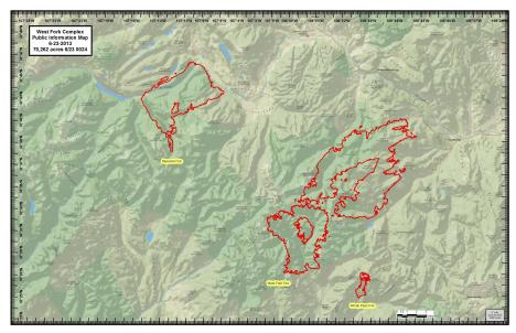 The West Fork Fire complex perimeter as of June 23, 2013.
