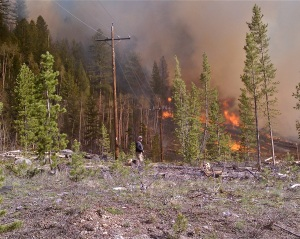 A wildfire burns near powerlines in Keystone Gulch in June 2011. Photo courtesy Lake Dillon Fire-Rescue.