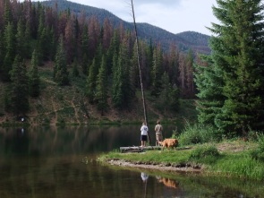Fishing for brookies at Officers Gulch Pond, in Summit County, Colorado.