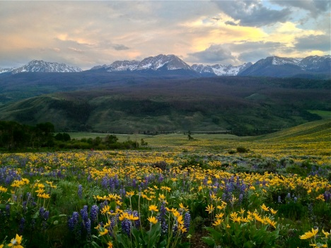 Colorado Gore Range at sunset