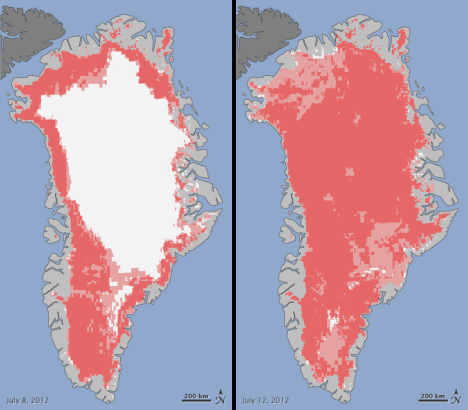 "In the images above, areas classified as ""probable melt"" (light pink) correspond to sites where at least one satellite detected surface melting. Areas classified as ""melt"" (dark pink) correspond to sites where two or three satellites detected melting."