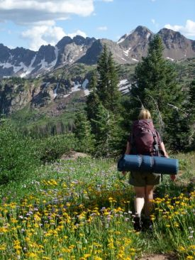Hiking in to a backcountry wilderness camp in the Eagles Nest Wilderness, Gore Range, Colorado.