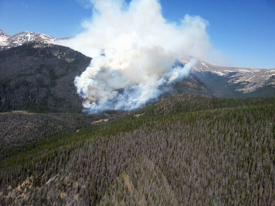 Big Meadows fire Rocky Mountain National Park Arial view