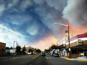 Thick smoke from the West Fork Fire Complex hangs over Del Norte, Colorado. Photo courtesy Inciweb.org.