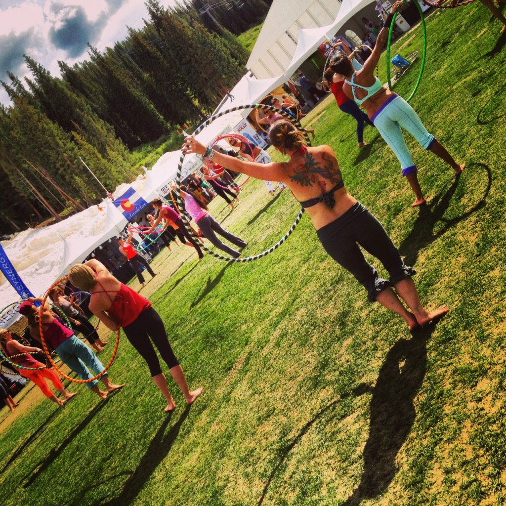 Hula Hoop yoga at Copper Mountain.