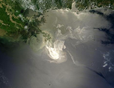Satellite view deepwater horizon oil spill