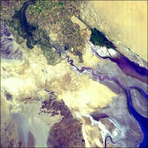 The dried up delta where the Colorado River reaches the Sea of Cortez