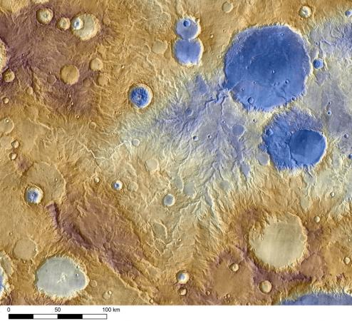 Mars from the Odyssey spacecraftWater-carved valleys on Mars appear to have been caused by runoff from precipitation, likely meltwater from snow. Early Martian precipitation would have fallen on mountainsides and crater rims.Credit: Images from NASA