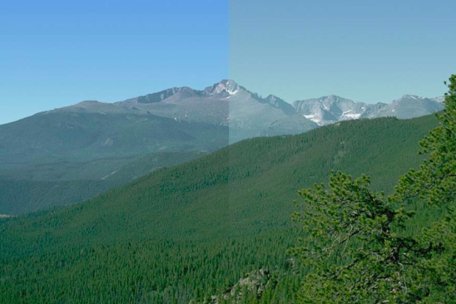 A computer-generated split-screen image a split-image simulates the average 20 percent best (left) and 20 percent worst 20 percent (right) visibility at the Long's Peak vista based on an average of monitored data for years 2000-2004.