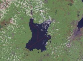 Loch Neagh, in Northern Ireland, from a NASA Landsat image.