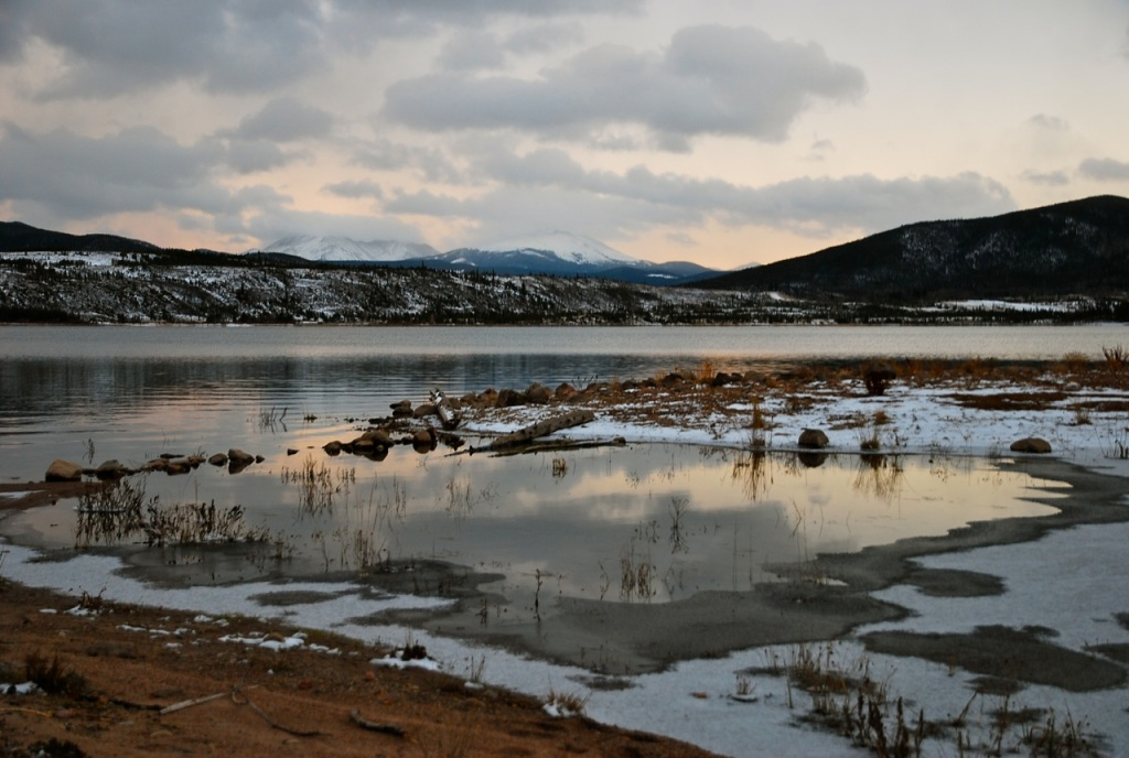 Evening light over Dillon Reservoir, Summit County, Colorado.