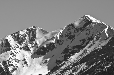 After a super snowy spring, summer started off looking quite wintry, with a thick snowpack still coating Peak 1 on June 1.