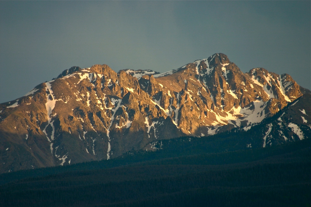 Early summer light on the Gore Range at sunset.