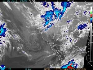 A NOAA weather satellite image shows a strong snowstorm headed for the Rocky Mountains.