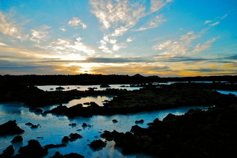 Sunset over the Blue Lagoon, Keflavik, Iceland.