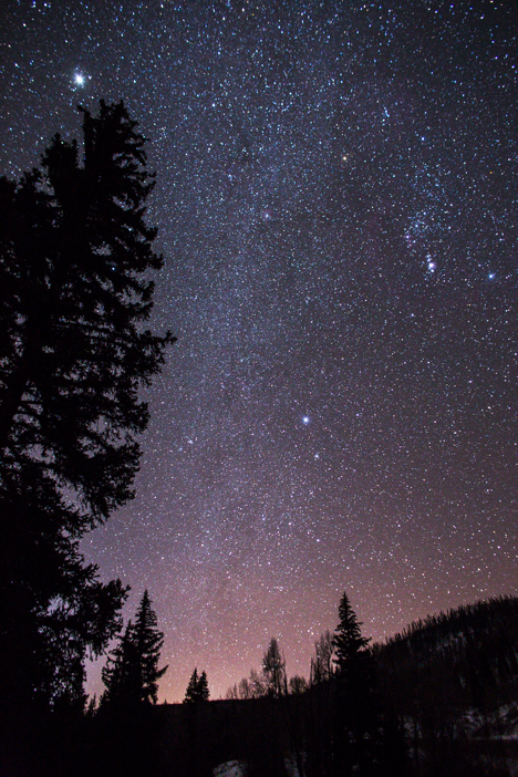 L to R Jupiter, Winter Milky Way haze, Dog Stars, and Orion and the lights of Silverthorne, Colorado.